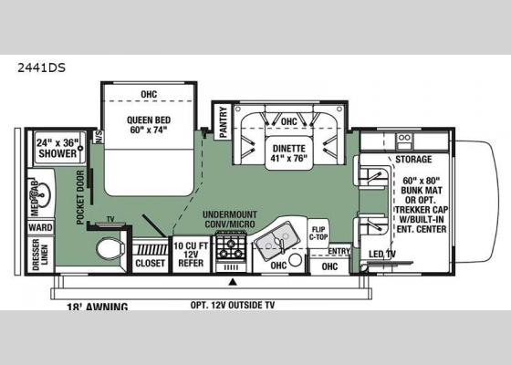 Floorplan - 2021 Forester 2441DS Ford Motor Home Class C