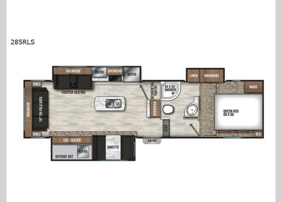 Floorplan - 2020 Chaparral Lite 285RLS Fifth Wheel