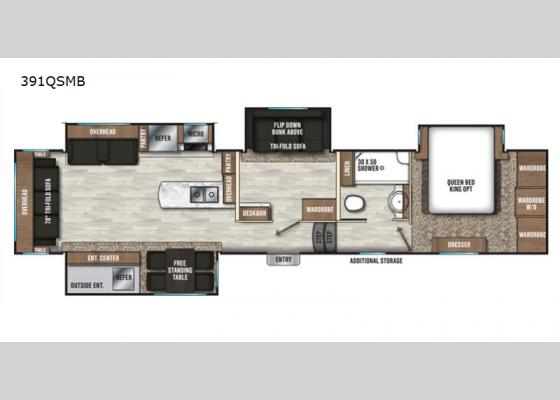 Floorplan - 2020 Chaparral 391QSMB Fifth Wheel