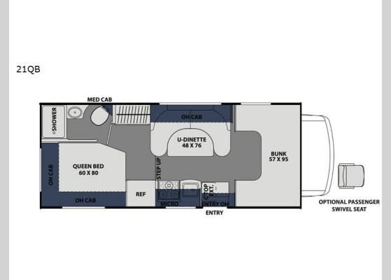 Floorplan - 2020 Freelander 21QB  Chevy 4500 Motor Home Class C