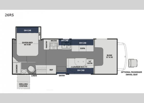 Floorplan - 2020 Freelander 26RS Chevy 4500 Motor Home Class C