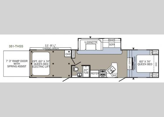 Floorplan - 2018 Puma Unleashed 351-THSS Toy Hauler Fifth Wheel