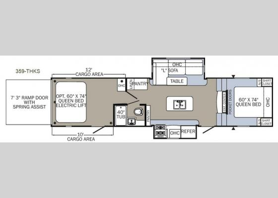 Floorplan - 2018 Puma Unleashed 359-THKS Toy Hauler Fifth Wheel
