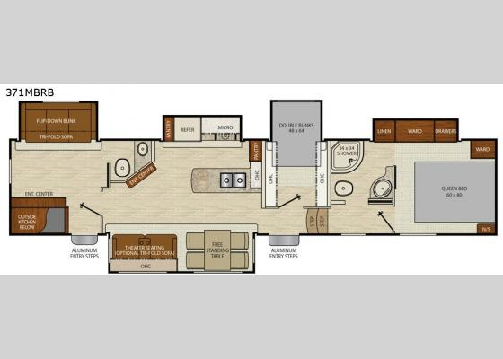 Floorplan - 2018 Chaparral 371MBRB Fifth Wheel