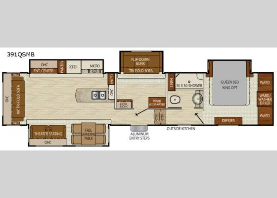 Floorplan - 2018 Chaparral 391QSMB Fifth Wheel