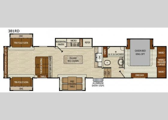 Floorplan - 2018 Chaparral 381RD Fifth Wheel