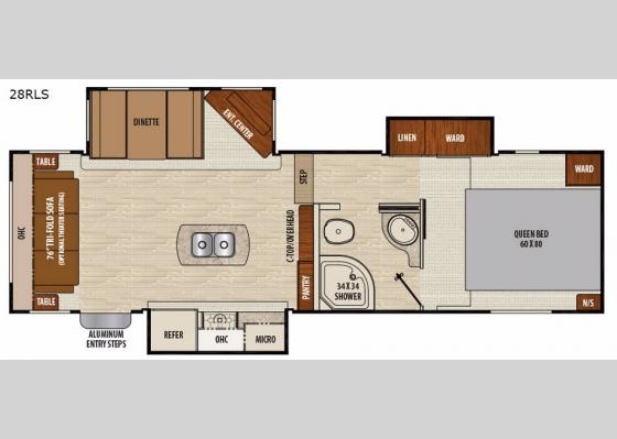 Floorplan - 2018 Chaparral Lite 28RLS Fifth Wheel