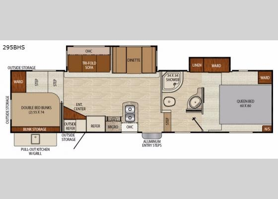 Floorplan - 2018 Chaparral Lite 295BHS Fifth Wheel