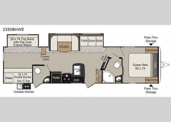 Floorplan - 2018 Passport 3350BHWE Grand Touring Travel Trailer