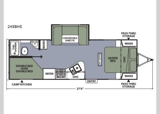 Floorplan - 2018 Apex Ultra-Lite 245BHS Travel Trailer