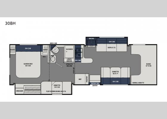 Floorplan - 2021 Freelander 30BH Ford 450 Motor Home Class C