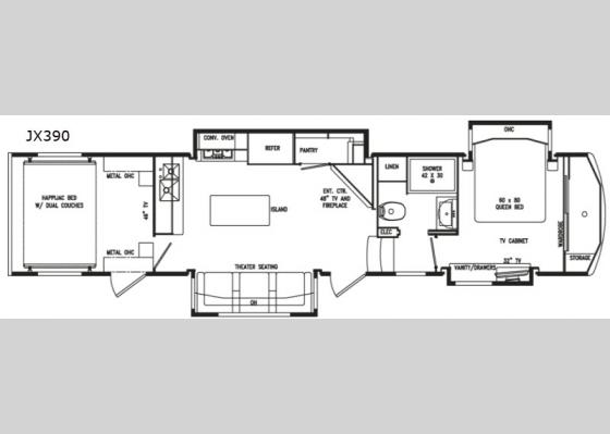 Floorplan - 2020 FullHouse JX390 Toy Hauler Fifth Wheel