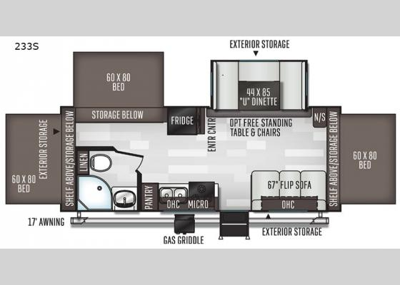 Floorplan - 2021 Flagstaff Shamrock 233S Expandable