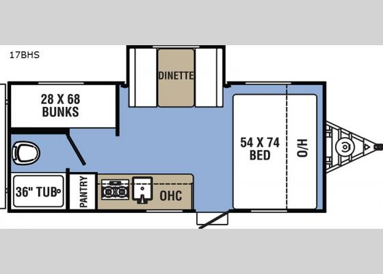 Floorplan - 2020 Clipper Ultra-Lite 17BHS Travel Trailer