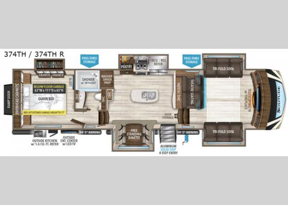 Floorplan - 2020 Solitude 374TH R Toy Hauler Fifth Wheel