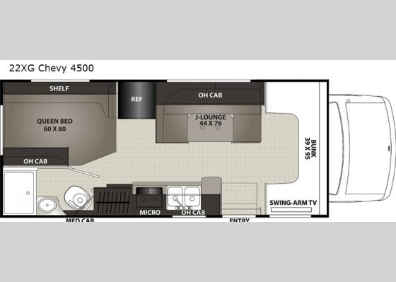 Floorplan - 2021 Cross Trek 22XG Chevy 4500 Motor Home Class C