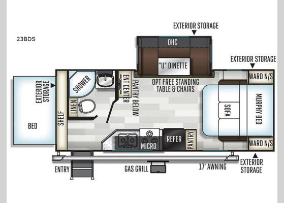 Floorplan - 2020 Flagstaff Shamrock 23BDS Expandable
