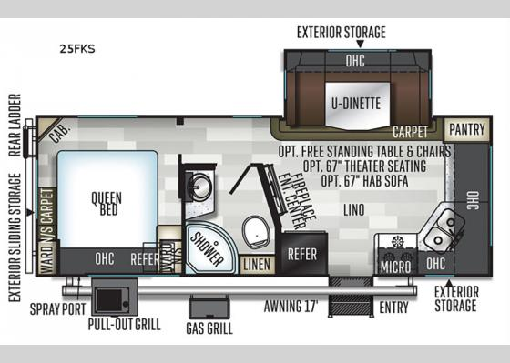 Floorplan - 2020 Flagstaff Micro Lite 25FKS Travel Trailer