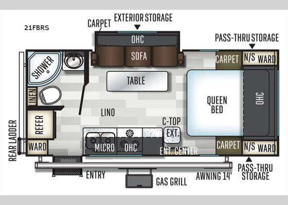 Floorplan - 2020 Flagstaff Micro Lite 21FBRS Travel Trailer