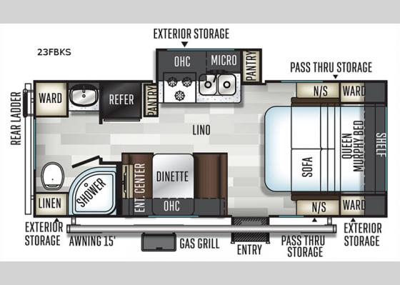 Floorplan - 2020 Flagstaff Micro Lite 23FBKS Travel Trailer