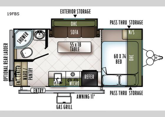 Floorplan - 2019 Flagstaff Micro Lite 19FBS Travel Trailer