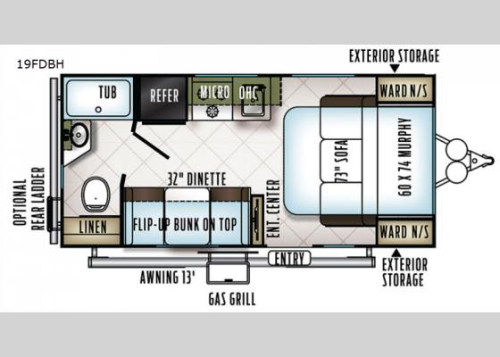 Floorplan - 2019 Flagstaff Micro Lite 19FDBH Travel Trailer