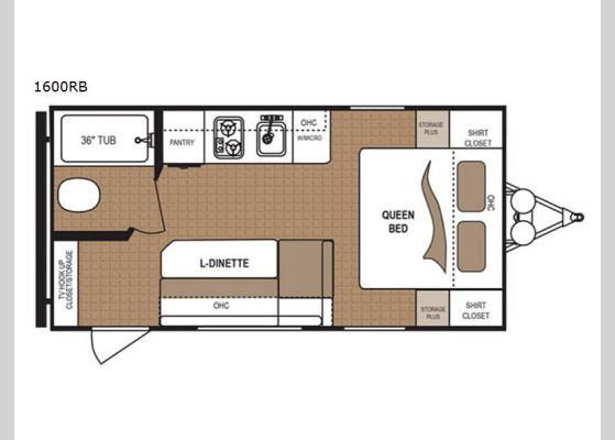 Floorplan - 2019 Aspen Trail 1600RB Travel Trailer