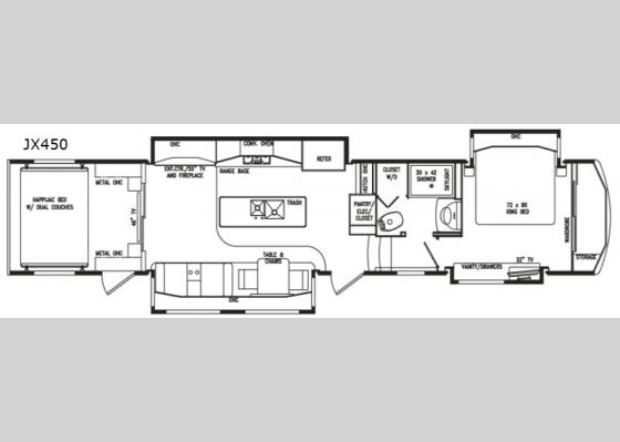 Floorplan - 2021 FullHouse JX450 Toy Hauler Fifth Wheel