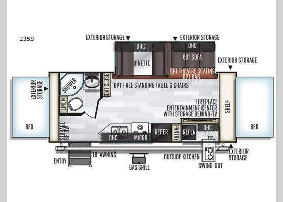 Floorplan - 2020 Rockwood Roo 235S Expandable