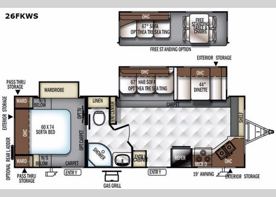Floorplan - 2018 Flagstaff Super Lite 26FKWS Travel Trailer