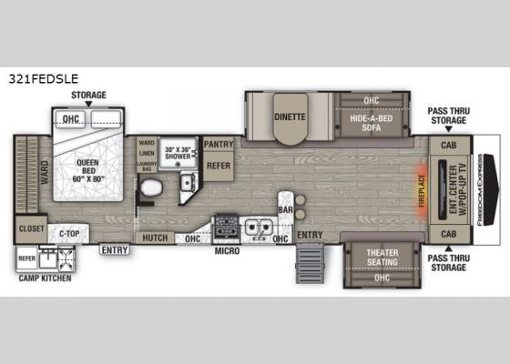 Floorplan - 2021 Freedom Express Liberty Edition 321FEDSLE Travel Trailer