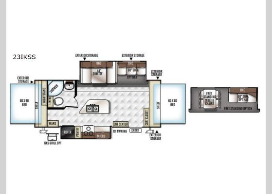 Floorplan - 2018 Flagstaff Shamrock 23IKSS Expandable