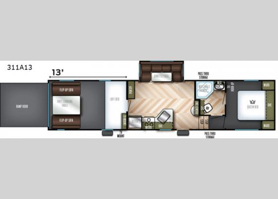 Floorplan - 2020 Vengeance Rogue 311A13 Toy Hauler Fifth Wheel