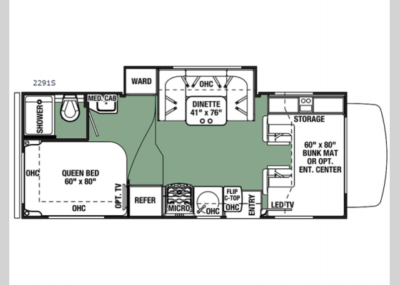 Floorplan - 2020 Forester 2291S Ford Motor Home Class C