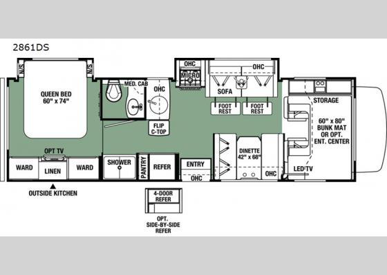 Floorplan - 2020 Forester 2861DS Chevy Motor Home Class C