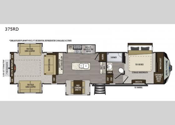 Floorplan - 2020 Avalanche 375RD Fifth Wheel