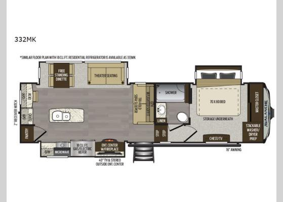 Floorplan - 2020 Avalanche 332MK Fifth Wheel