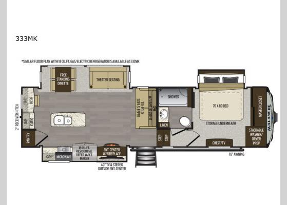 Floorplan - 2020 Avalanche 333MK Fifth Wheel