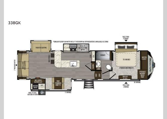 Floorplan - 2020 Avalanche 338GK Fifth Wheel