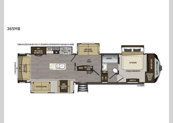 Floorplan - 2020 Avalanche 365MB Fifth Wheel