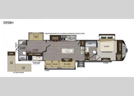 Floorplan - 2020 Avalanche 395BH Fifth Wheel