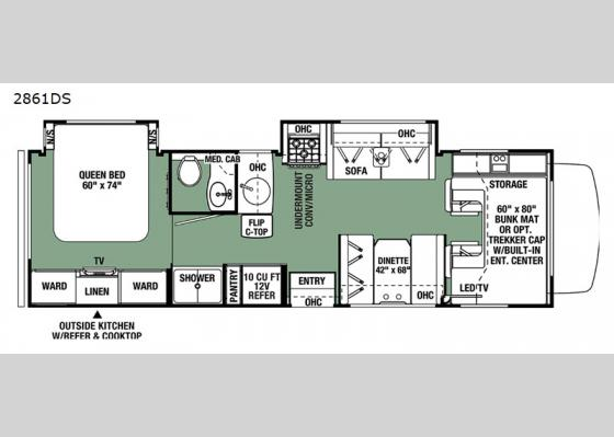 Floorplan - 2021 Forester 2861DS Ford Motor Home Class C