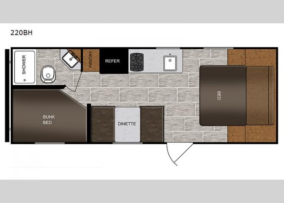 Floorplan - 2020 PTX 220BH Travel Trailer