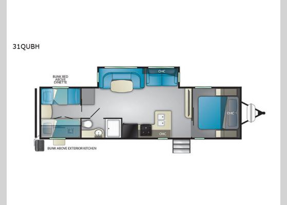 Floorplan - 2020 North Trail 31QUBH Travel Trailer