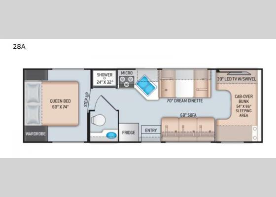 Floorplan - 2022 Chateau 28A Chevy Motor Home Class C