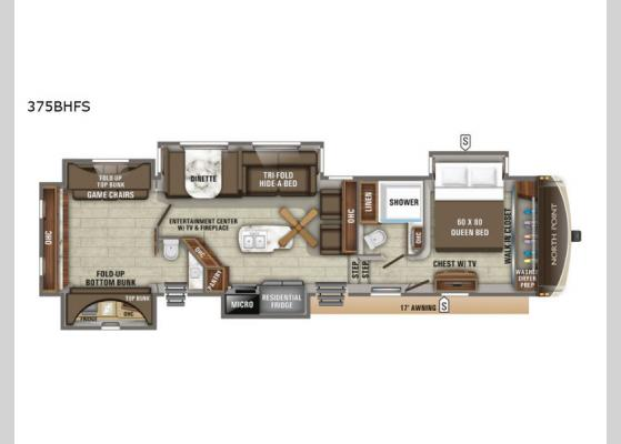 Floorplan - 2020 North Point 375BHFS Fifth Wheel