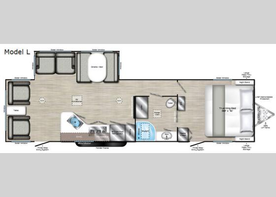 Floorplan - 2020 Evoke Model L Travel Trailer