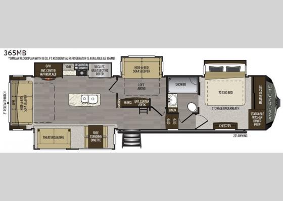 Floorplan - 2021 Avalanche 365MB Fifth Wheel