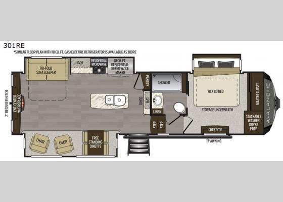 Floorplan - 2021 Avalanche 301RE Fifth Wheel