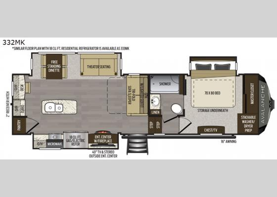 Floorplan - 2021 Avalanche 332MK Fifth Wheel